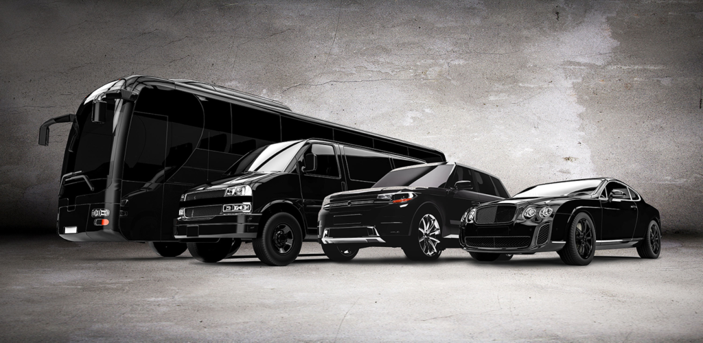 black vehicles parked side by side in size order: motor coach, suv, large car, small car